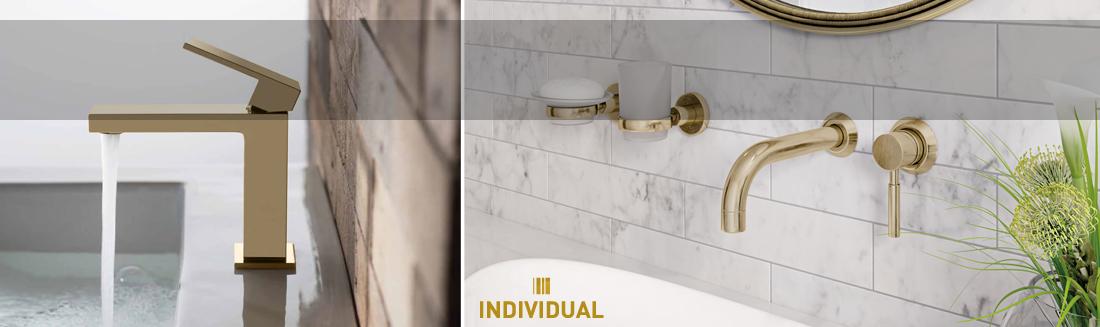 VADO - kolekcja Individual - baterie łazienkowe w kolorze - złoto polerowane i szczotkowane