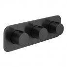 Bateria prysznicowa termostatyczna, podtynkowa, pozioma, 3-drożna - INDIVIDUAL by VADO - Czarny Szczotkowany (matowy)