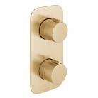 Bateria prysznicowa termostatyczna, podtynkowa, 2-drożna - INDIVIDUAL by VADO - Złoto Szczotkowane