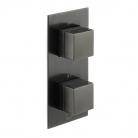 Bateria prysznicowa termostatyczna, podtynkowa, pionowa, 2-drożna - INDIVIDUAL by VADO - Czarny Szczotkowany (matowy)
