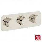 Bateria prysznicowa 3-drożna z termostatem - VADO z kolekcji Individual | Tablet - TAB-128/3-H-ALT-BN - nikiel