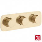 Bateria prysznicowa 3-drożna z termostatem - VADO z kolekcji Individual | Tablet - TAB-128/3-H-ALT-BRG - złoto szczotkowane