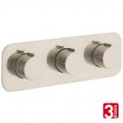 Bateria prysznicowa 3-drożna z termostatem - VADO z kolekcji Individual | Tablet - TAB-128/3-H-ALT-BRN - nikiel szczotkowany