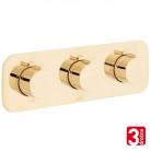Bateria prysznicowa 3-drożna z termostatem - VADO z kolekcji Individual | Tablet - TAB-128/3-H-ALT-PG - złoto polerowane