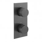 Bateria prysznicowa termostatyczna, podtynkowa, 2-drożna - INDIVIDUAL by VADO - IND-T148/2-BLKK - Czarny Szczotkowany (matowy)