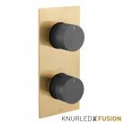 Bateria prysznicowa termostatyczna 2-drożna - Individual Knurled X Fusion - IND-T148/2-XGBK - Złoto Szczotkowane & Czarny Szczotkowany
